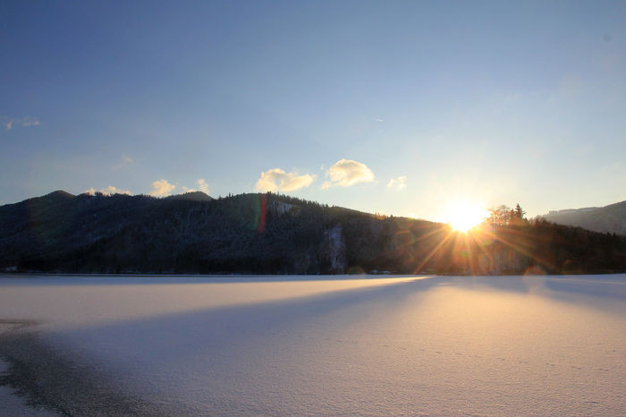 frozen lake schliersee Frozen Frozen Lake Ice Beauty In Nature Cold Temperature Lake Landscape Mountain Nature No People Outdoors Sky Snow Sunlight Sunset Tranquil Scene Tranquility Winter