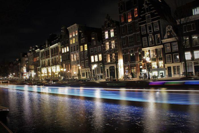 Showcase: February Amsterdam Amsterdamcity Amsterdamse Grachten Nightphotography Night Lights Boats Finding New Frontiers
