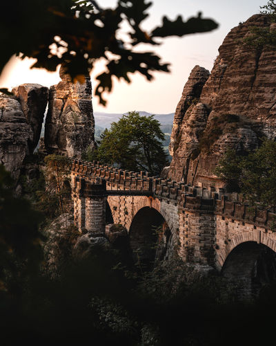 love these early morning sunrise trips. Bastei Basteibrücke Saxon Switzerland Saxon Switzerland Saxony Dresden Dresden / Germany Tree Water Bridge - Man Made Structure Old Ruin Fog Ancient History Arch Architecture Sky Viaduct Overpass Elevated Road Medieval Fortress