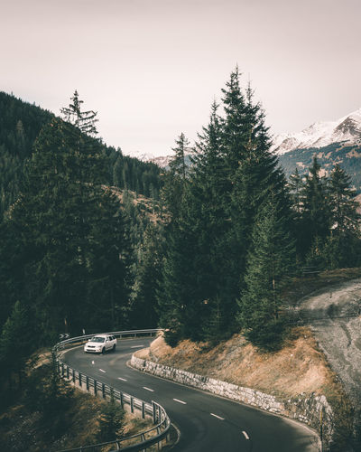 Car driving in the mountains on a winding road Auto Car Curve Day Drive Europe Europe Trip Forest Landscape Mountain Road Mountains Nature Outdoors Pass Road Road Road Trip Schweiz Suisse  Swiss Switzerland Transportation Tree Trees Winding Road Summer Road Tripping