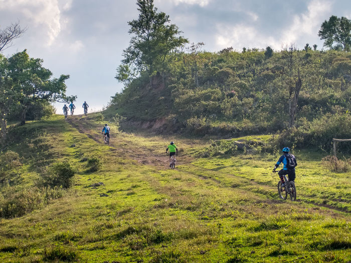 Mountain biking at Khao Kho Adventure Uphill Freedom Mountain Bike Travel Adventure Leisure Activity Lifestyles Mountain Nature Outdoors Sky Sports Travel Destinations Friend