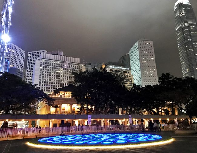 Illuminated Building Exterior Architecture Built Structure Tree City Night Sky Growth Outdoors Skyscraper No People Water Cityscape Hk Super Pool