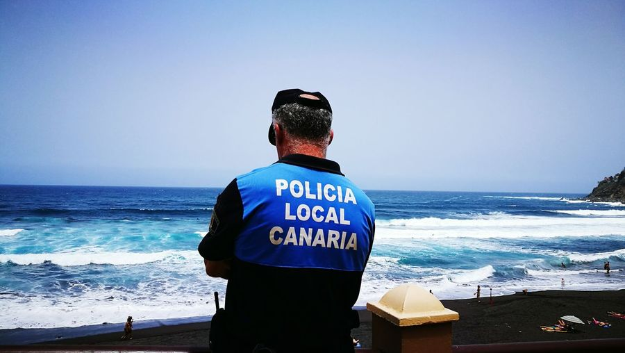 Beach Sea One Man Only Horizon Over Water One Person Lifeguard  Rear View People Vacations Standing Water Adult Adults Only Only Men Wave Sky Sand Day Clear Sky Outdoors Police Local Police Policia Local Canarias Canary Islands