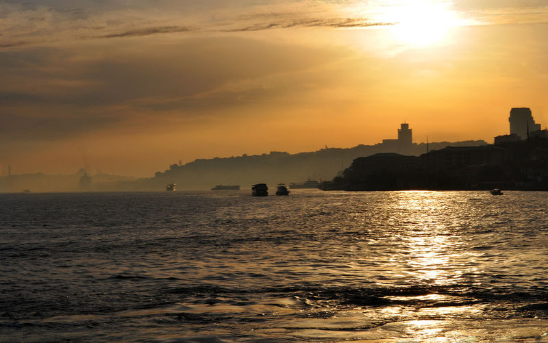 Scenic view of sea at sunset