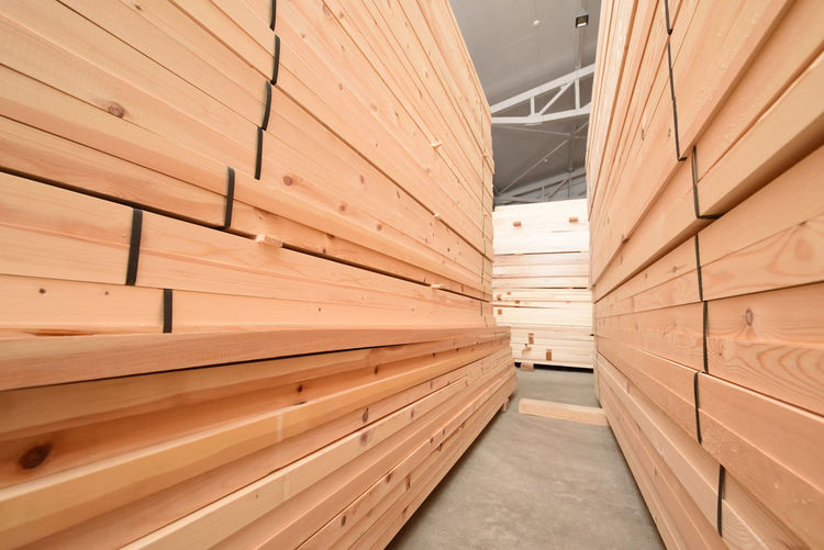 Stack Of Wood In Lumber Industry