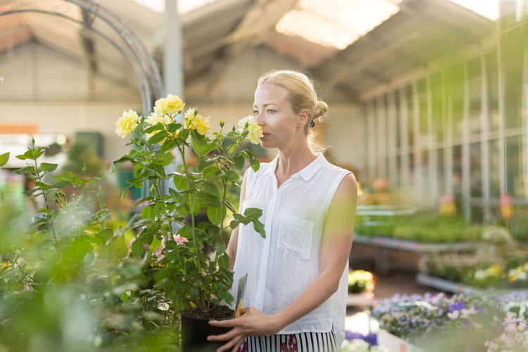 Woman standing by flowering plants at greenhouse