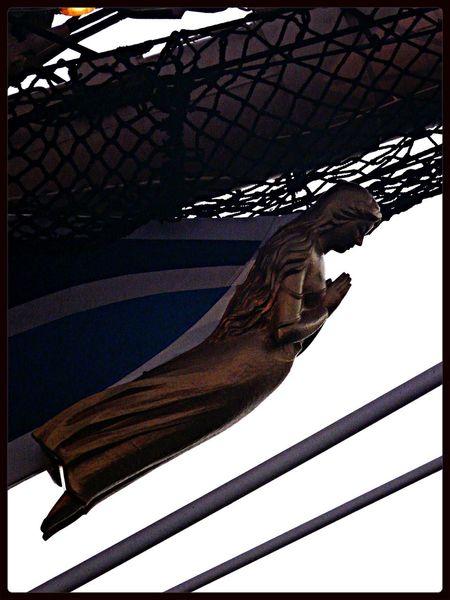 "Nippon maru figurehead ""ranjyo"" : Woman who Prays 日本丸II世の船首像「藍青(らんじょう)」 Peaceful Evening Nagasaki city"