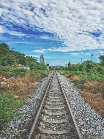 Railroad Track The Way Forward Transportation Rail Transportation Sky Nature Thailand Thailand_allshots