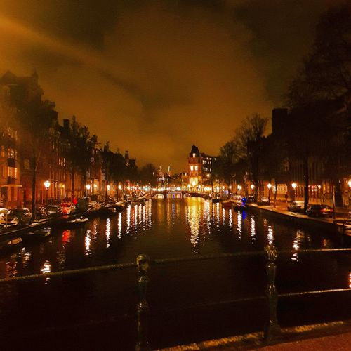 Night Illuminated Reflection Water Bridge - Man Made Structure Architecture Built Structure Outdoors Sky Building Exterior Tree Adults Only People Only Men Adult Amsterdam