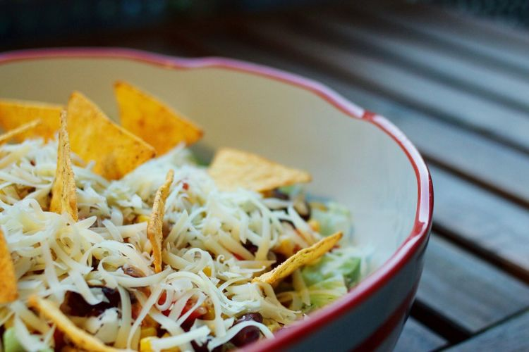 Close-up of salad with tortillas