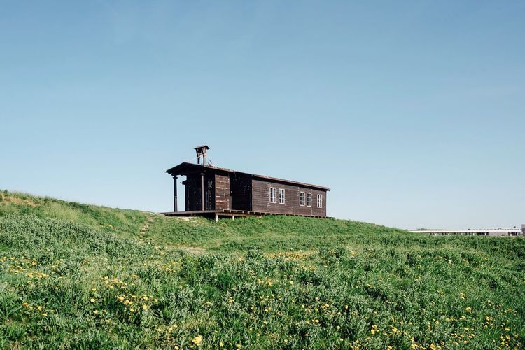 Cabin Hut Sky Green Color Clear Sky Nature Architecture Built Structure Field Building No People