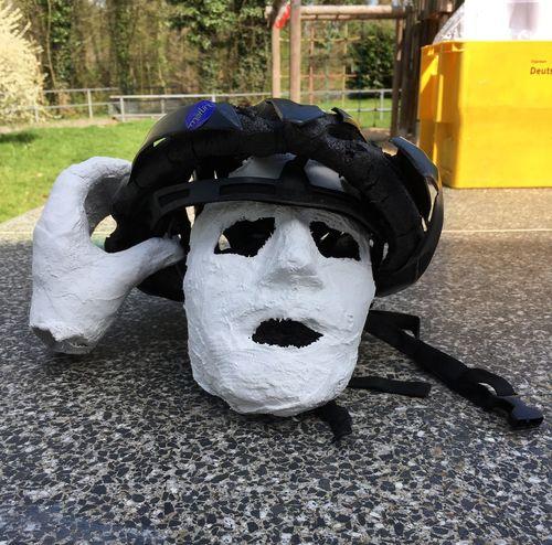 Helmet. Bicycles. Damaged by car. 78655