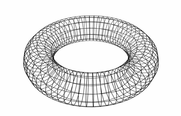 Abstract geometric shape. Wireframe object isolated on white background. Torus. 3d illustration. Circle Shape Torus Architectural Feature Architecture Built Structure Ceiling Circle Close-up Copy Space Cut Out Day Design Directly Below Geometric Geometric Shape Indoors  Low Angle View Metal No People Pattern Round Shape Sky Studio Shot White Background Wireframe