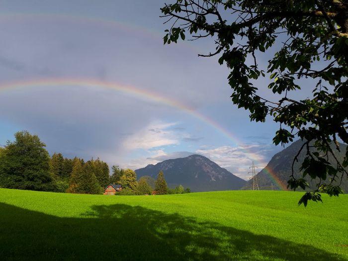 Altaussee Double Rainbow Aussee Regenbogen Doppelter Regenbogen Spectrum Tree Sky Cloud - Sky Valley