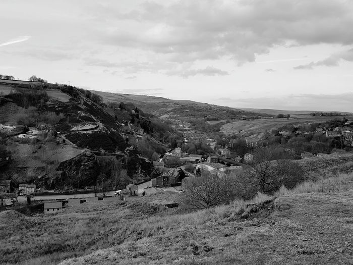 looking down to walsden Blackandwhite Samsungphotography Nature Nature Photography Springtime EyeEm Selects Oil Pump Mountain Sky Landscape Cloud - Sky Farmland