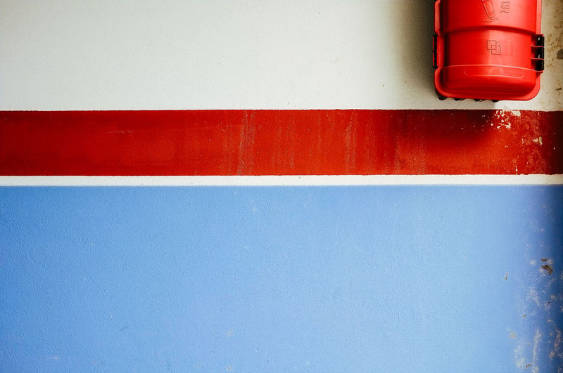 blue, red & white straight lines detail. Abstract Background Blue Close-up Day Design No People Red Wall Wall - Building Feature White