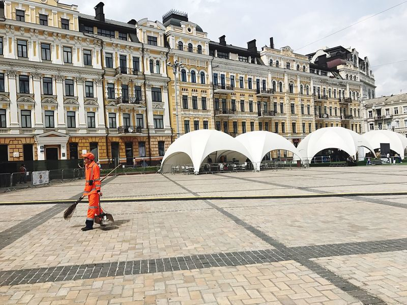 Full Length Architecture Building Exterior One Man Only One Person Day Built Structure Travel Destinations City Working Sweep Sweeper Janitor Wiper Clean Square City Life Cleaning Sofiyskaya Square Kiev Kiev Ukraine Ukraine
