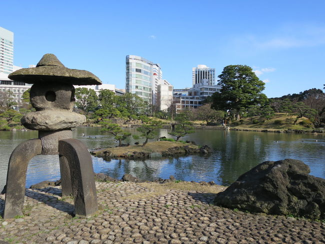 Water Reflections StoneLantern Blue Sky at Kyu Shiba-rikyu Gardens 旧芝離宮恩賜 Garden in Tokyo Japan