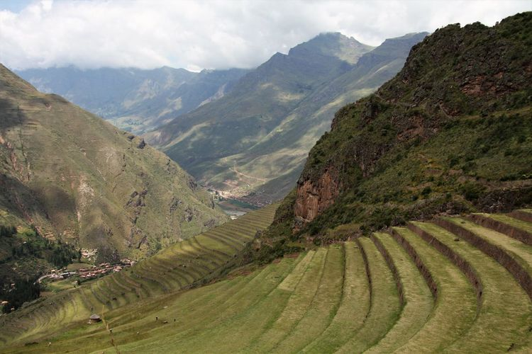 Pisaq Agriculture Andean Landscape Beauty In Nature Day Environment Green Color Growth Landscape Mountain Mountain Range Nature Rural Scene Scenics - Nature Tranquil Scene Tranquility Valley