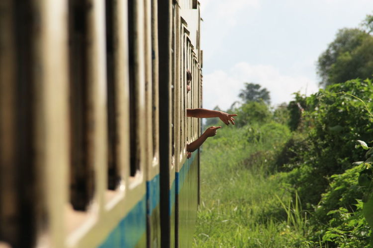 Green Kids Travel Myanmar Nature Outdoors People Pointing Fingers Sky Train Tree