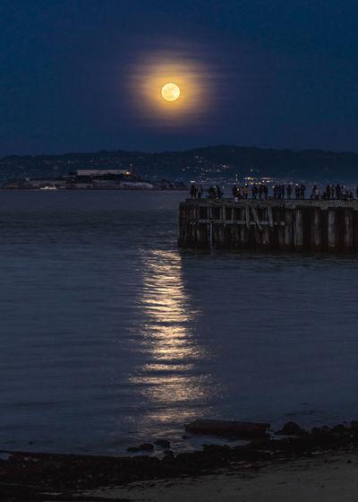 Alcatraz Island Full Moon Night Photography Pier Bay Horizon Island Moonrise San Francisco Bay Super Moon