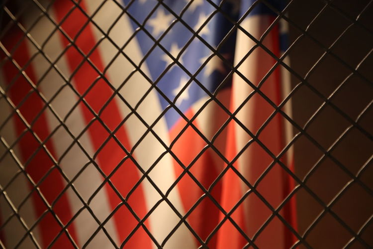 Backgrounds Close-up Fence Indoors  Locked Up Metal No People Pattern Protection US Flag