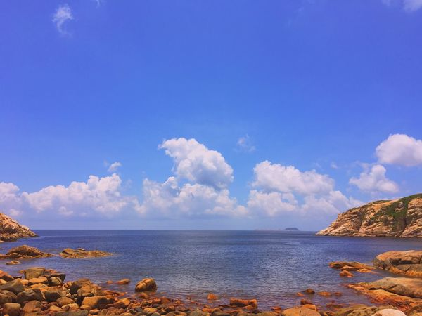 Sky Nature Tranquility Beauty In Nature Tranquil Scene Sea Rock - Object Shek O HongKong Outdoors No People Water Blue Day Landscape Scenery