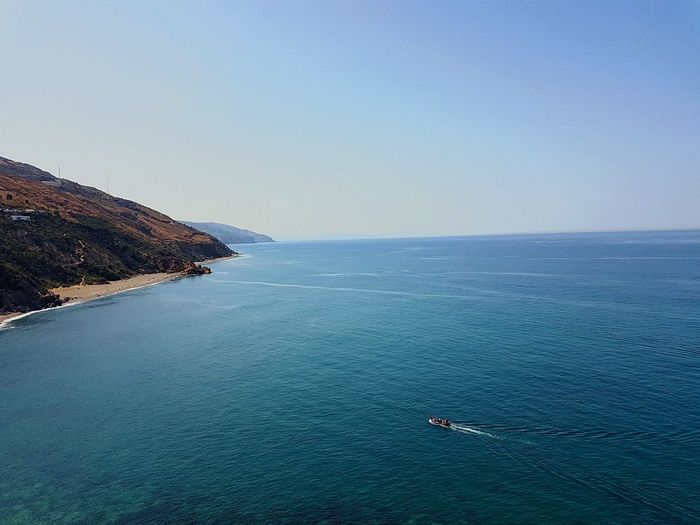 Summer Water Sea Scenics - Nature Beauty In Nature Sky Tranquil Scene Horizon Over Water Nature Tranquility Horizon Clear Sky Blue Day Idyllic Transportation Mode Of Transportation Non-urban Scene Nautical Vessel Outdoors Waterfront