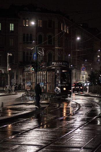Milano Nord Cadorna Transportation Street Night Milano Cadorna Milan,Italy