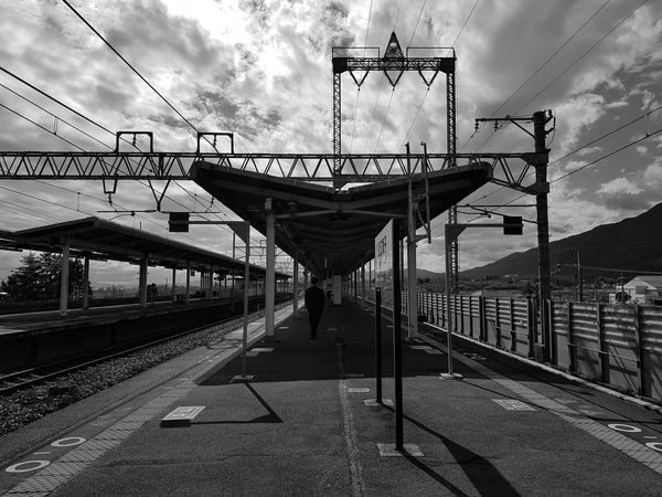 Japan Photos Cloudpark Station Platform Calmness Transportation Sky Bnw Travel Clouds And Sky Cloud - Sky The Way Forward Outdoors Day No People Architecture Urban Urban Life Rural Scene Blackandwhite Train Station Bnw_life Black And White Friday Samsung Galaxy Note 8 Streamzoofamily