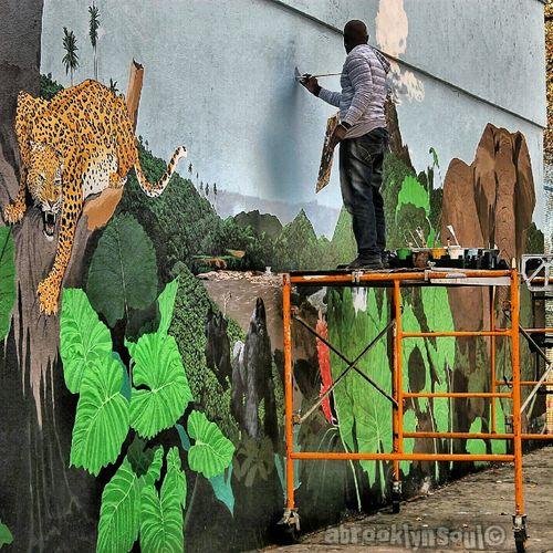 Mural Touch-Up, Prospect Park Station, Flatbush Avenue, Brooklyn Subway Murals Brooklyn Art