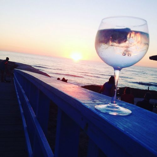 Sunset Sea Wineglass Tranquility Food And Drink Tranquil Scene Ocean
