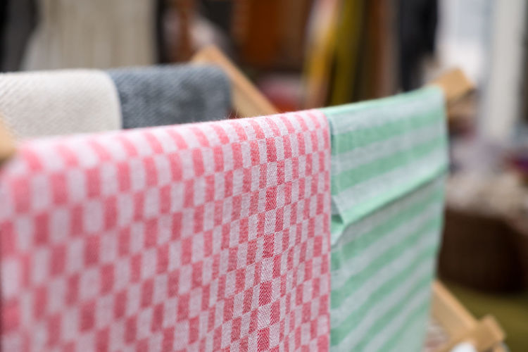 Close-up of textiles hanging at home