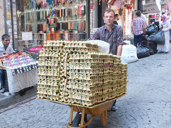 Egg Delivery! Grand Bazaar Casual Clothing City Composition Eggs For Sale Full Frame Grand Bazaar Incidental People Istanbul Lifestyles Man Market Market Stall Outdoor Photography Person Retail  Shops Store Street Turkey Unusual