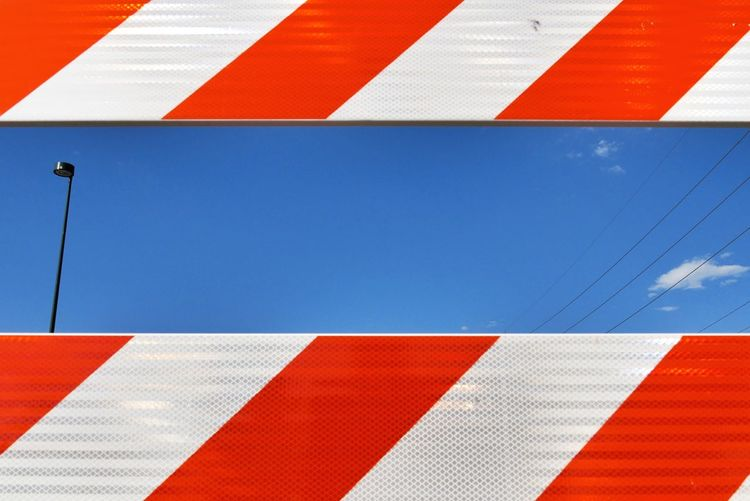 Street barrier at a festival. Abstract Colors Blue Sky Blue Orange Color Warning Panasonic Lumix Dmc-gx85 Showcase June Fine Art Photography