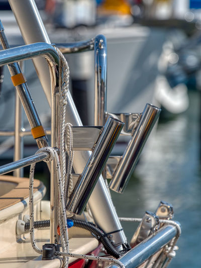 Close-up of bicycles on table