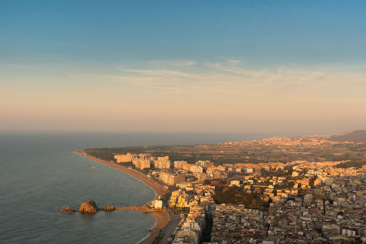 Panorama of sill sleeping city of Blanes, Spain City Beauty In Nature Coast Nature No People Outdoors Scenics Sky Sunrise Sunset