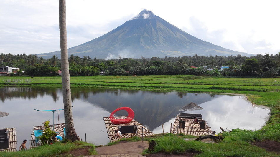 Water Mountain Lake Landscape Scenics Nature Sky Reflection Cloud - Sky Outdoors Beauty In Nature No People Tree Rural Scene Mayon Volcano Philippines Travel Destinations Sumlang Lake Day Tranquility Grass