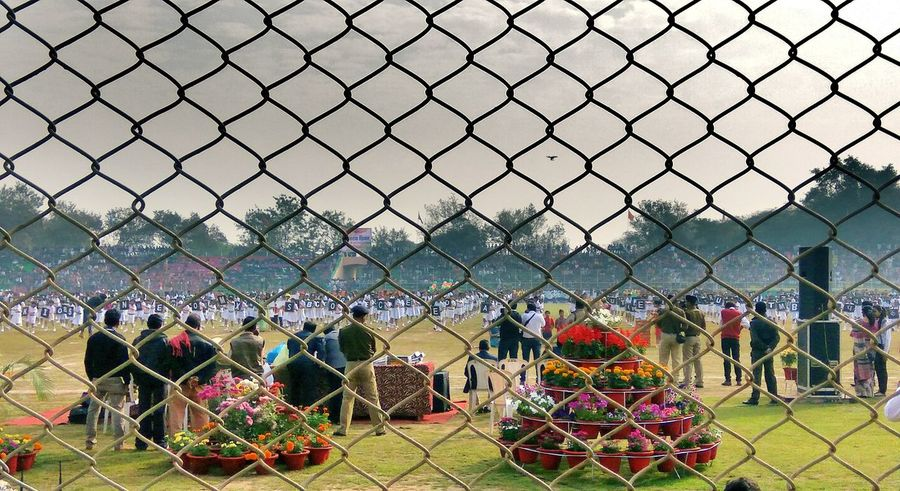 Chainlink Fence Fence Outdoors Multi Colored Protection No People Variation Day Tree Sky Patriotism Annual Event 68th Republic Day Of India EyeEm Diversity Art Is Everywhere