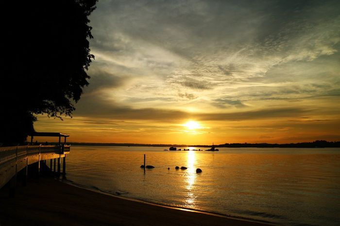 Changi Boardwalk Beauty In Nature Horizon Over Water Nature Nparks Nparksbuzz Reflection Scenics Sea Silhouette Sky Sun Sunset Tranquil Scene Tranquility Tree Water