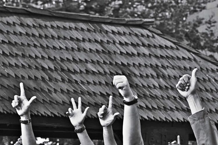 Many thumbs up Human Body Part Human Hand Outdoors Focus On Foreground Real People Day Togetherness Adult Adults Only People Only Women EyeEm Selects Bnw_collection Blackandwhite Sonya7rii
