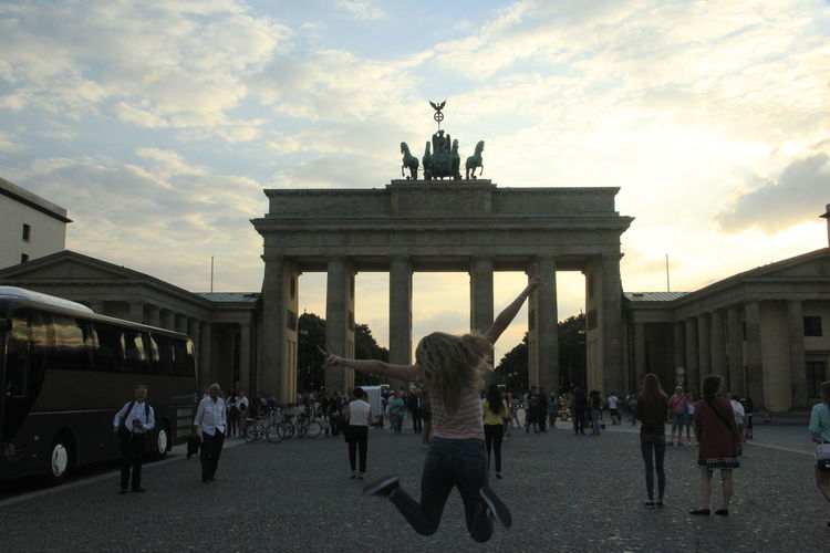 City Gate Large Group Of People Architectural Column Architecture City Travel Destinations Sky Sculpture Statue People Adults Only Outdoors Adult Day Night Lights City Light And Shadow Amazingview Berlin Photography Brandemburger Tor One Woman Only Amazing View Sunny Sunset And Clouds