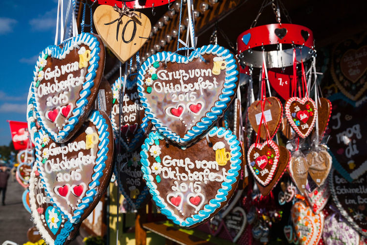 Close-up of heart shape hanging on market stall