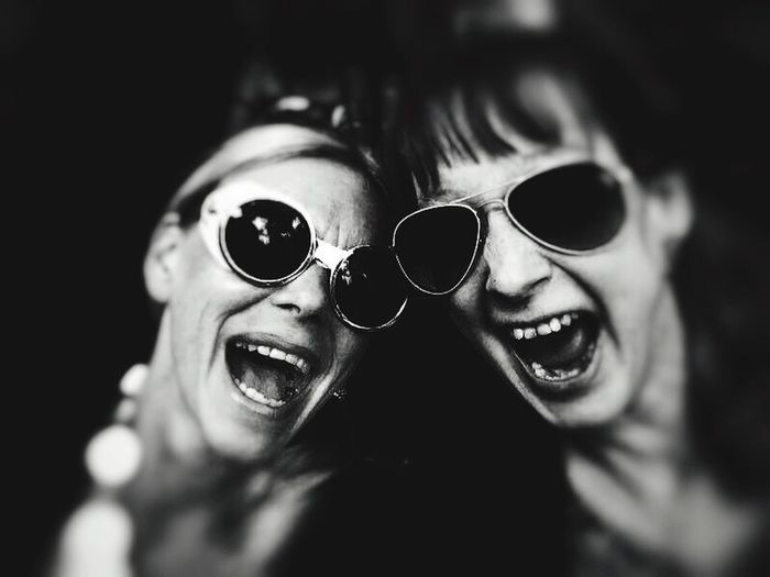 Peple Photography Laughing Streetphotography Den Haag People Den Haag Street Streetlife Cheese! Hello World Enjoying Life Den Haag, Netherlands Black & White People Family The Portraitist - 2017 EyeEm Awards Smiling Glasses Portrait Two People Headshot Fashion Emotion Sunglasses Happiness Adult Women Close-up Selective Focus Togetherness Positive Emotion Couple - Relationship