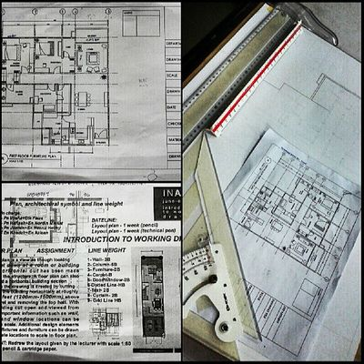 Floor Plan . Assignment . Working Drawing . INA 106 . Interiordesignstudent UitmPerak Archinovastudio drawing tu guna 2H tu yg x nampak sgt tuhhh :D almost done.