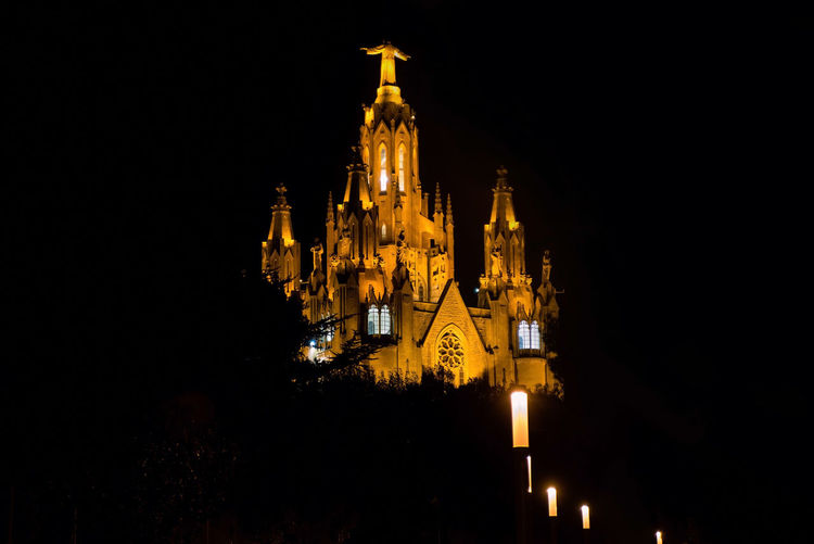 Sacred Heart church on Mount Tibidabo in Barcelona. Illuminated night view Night Building Exterior Architecture Built Structure Illuminated Place Of Worship Belief Religion Building Spirituality Travel Destinations The Past No People Sky Copy Space History Travel Low Angle View Outdoors Spire  Tibidabo Barcelona Church