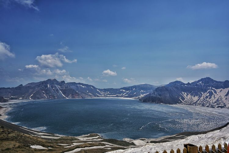 Scenic View Of Heaven Lake By Mountains Against Sky During Winter