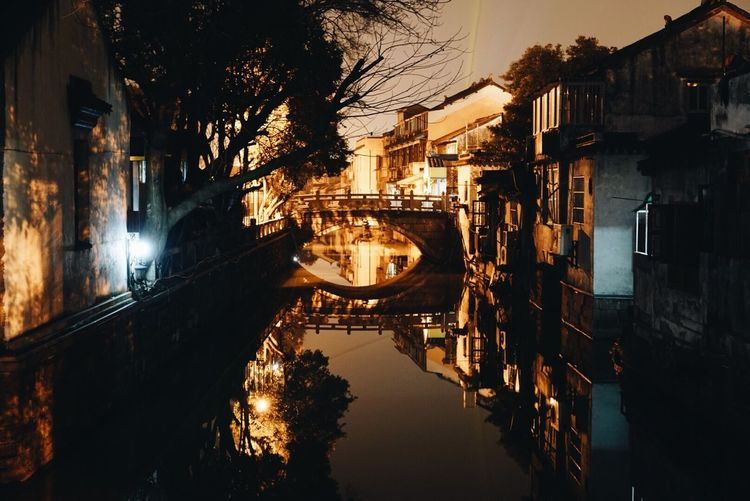 Architecture Reflection Building Exterior Canal Illuminated City Built Structure Night Street Light Travel Destinations Water Tree Outdoors Bridge - Man Made Structure No People Sky Cityscape Gondola - Traditional Boat PIngjiang Road