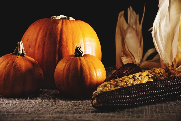 Close-up of pumpkins on table against black background