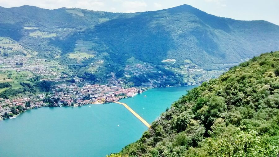 The Floating Piers Iseo Lake Iseo Mountain Montisola